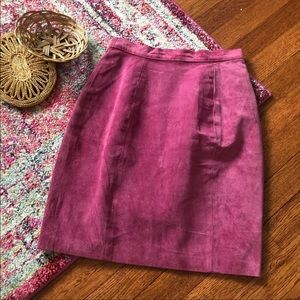 Paris sports club Raspberry suede pencil skirt